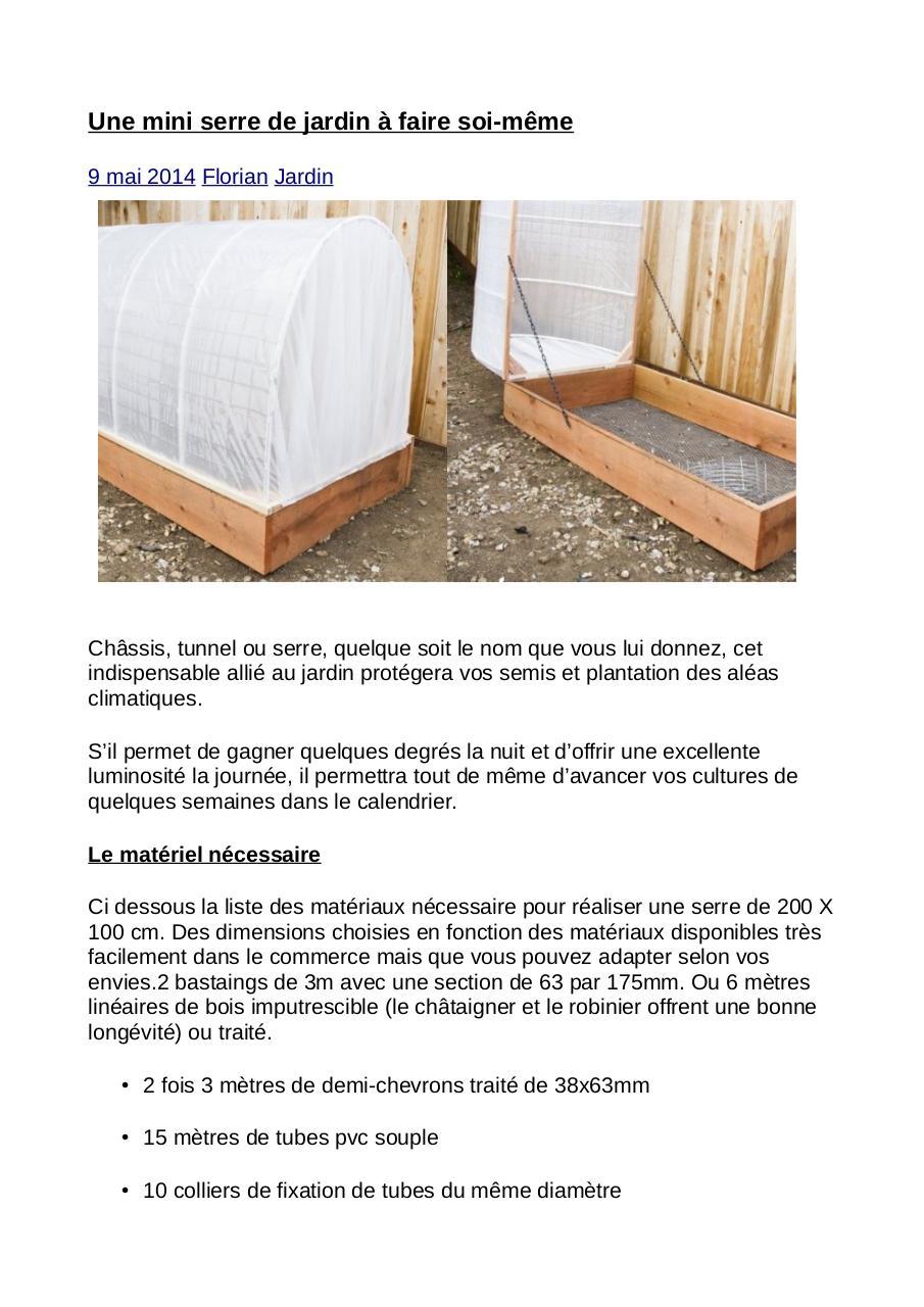 Une mini serre de jardin de 200 x 100 cm, à faire soi même - Fichier PDF