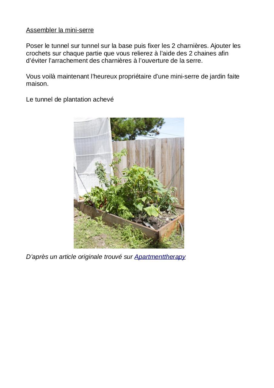 Une mini serre de jardin de 200 x 100 cm, à faire soi même ...