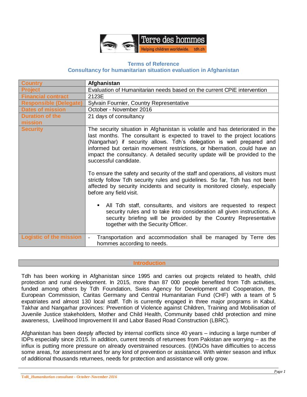 Aperçu du document ToR_Humanitarian Consultant 21 days.Afgha.pdf - page 1/3