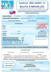bulletin adhesion 33 pour 2017