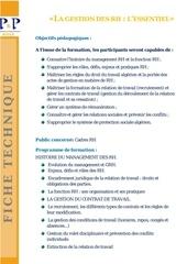 07 les essentielles de la gestion rh