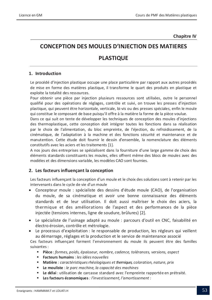 1 Cours Par Taher Hammami Chapitre 4 Conception Moules Injection