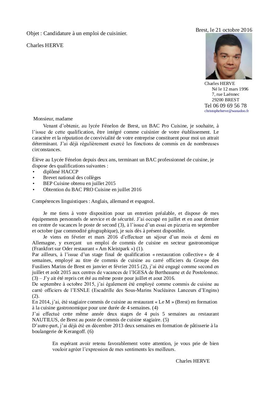 Cv Et Lettre De Motivation Charles Herve Oct 2016 Par Herve