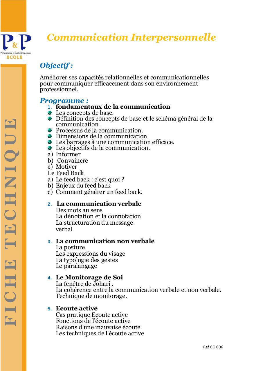 01 Communication Interpersonnelle Par Petp Fichier Pdf