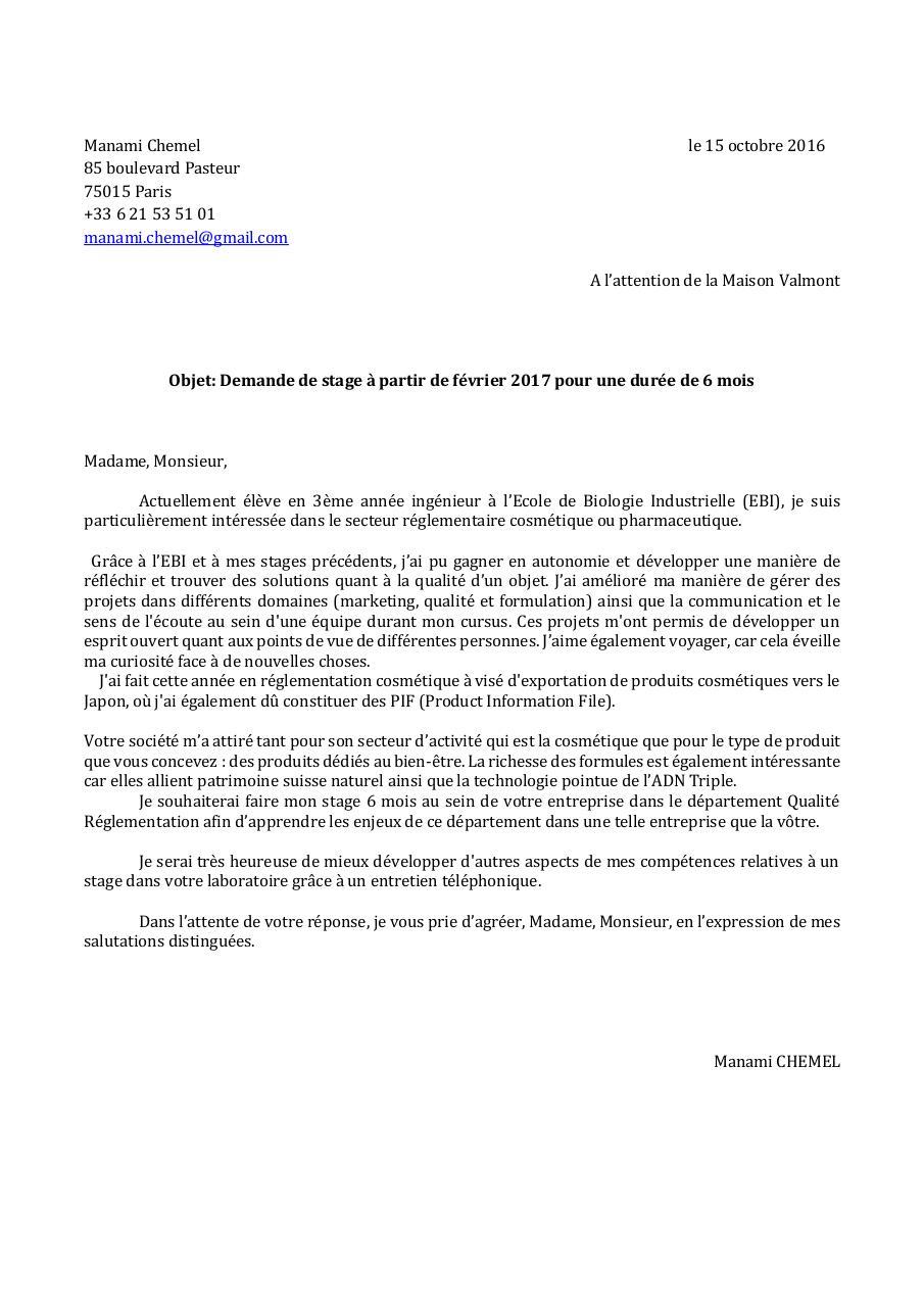 Lettre de motivation Valmont par Manami Chemel - Fichier PDF