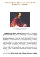bulle pontificale ad providam fulminee le 2 mai 1312