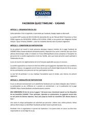 reglement jeu quizz facebook casanis
