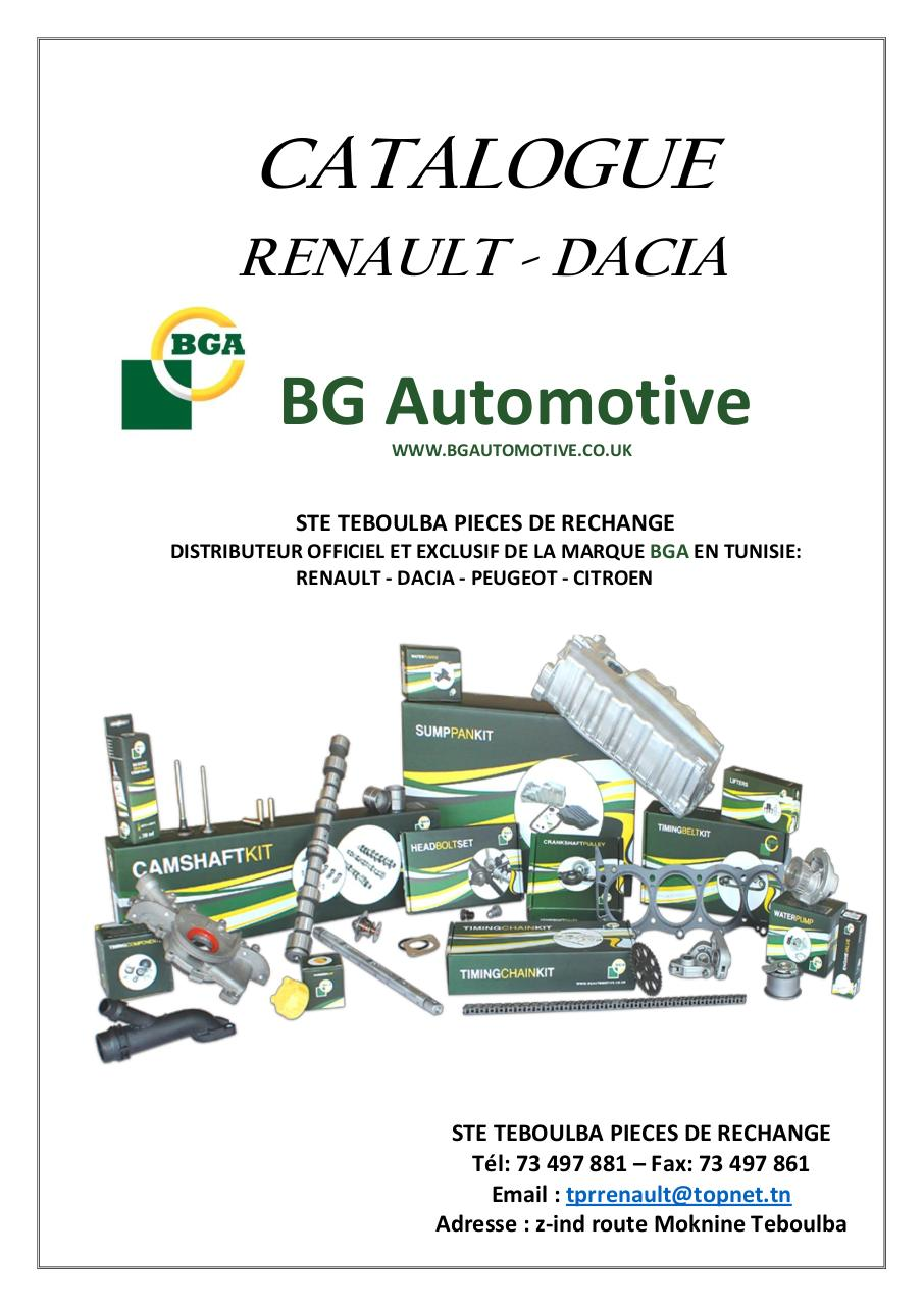 Aperçu du document CATALOGUE BGA RENAULT-DACIA 10-2016.pdf - page 1/14