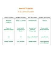 menus de la cantine 21 nov