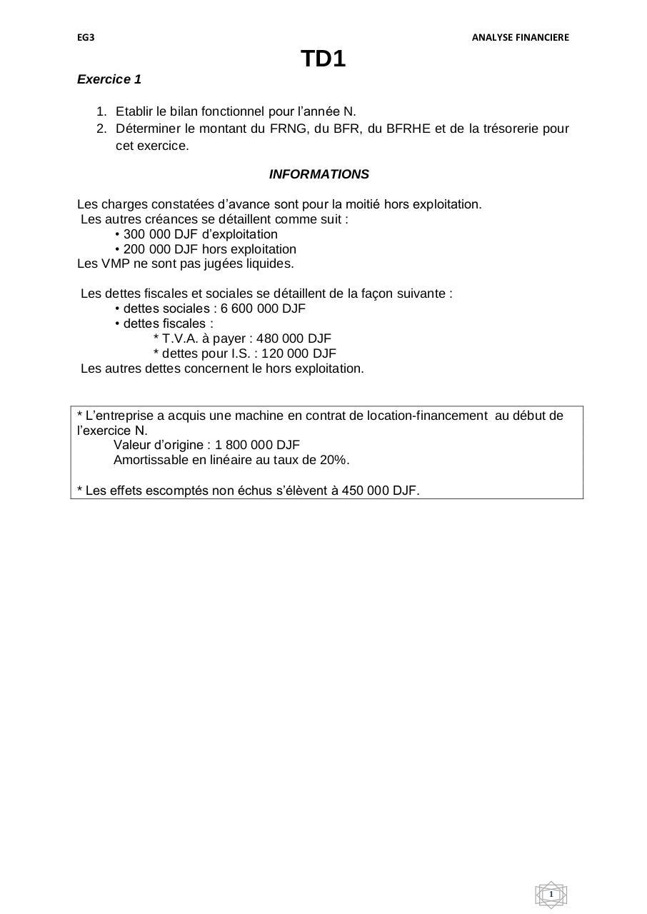 Td1 Bilan Fonctionnel Par Gueddi Fichier Pdf