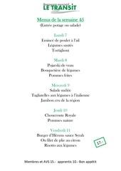 menu de la semaine 45