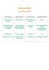 menus de la cantine 9 janv
