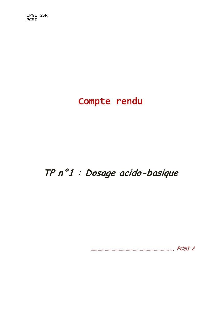 Compte rendu tp chimie dosage acido basique pdf file