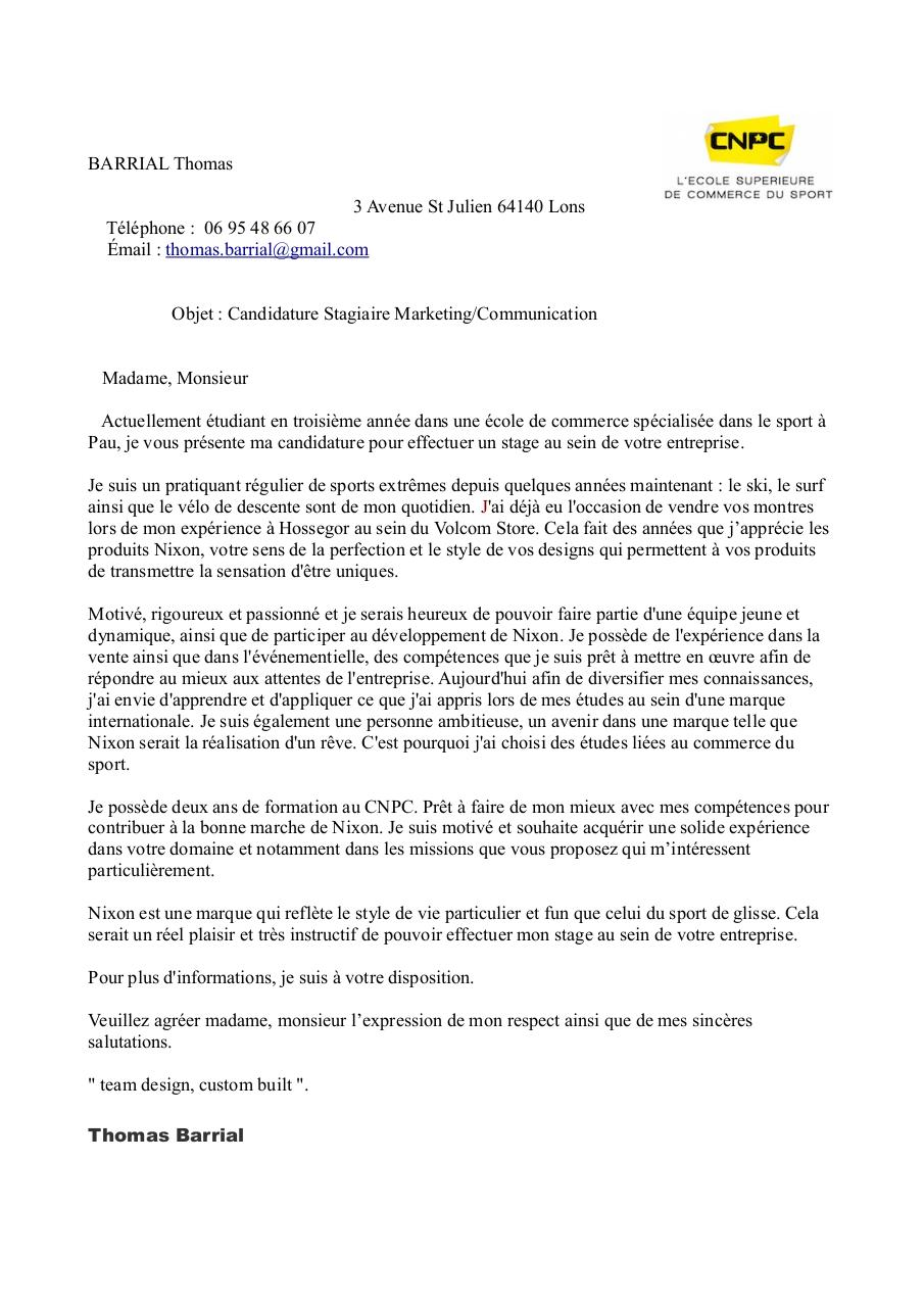 cv et lettre de motivation nixon  cv et lettre de motivation nixon pdf