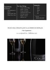 ris de veau morilles champagne colin anglais