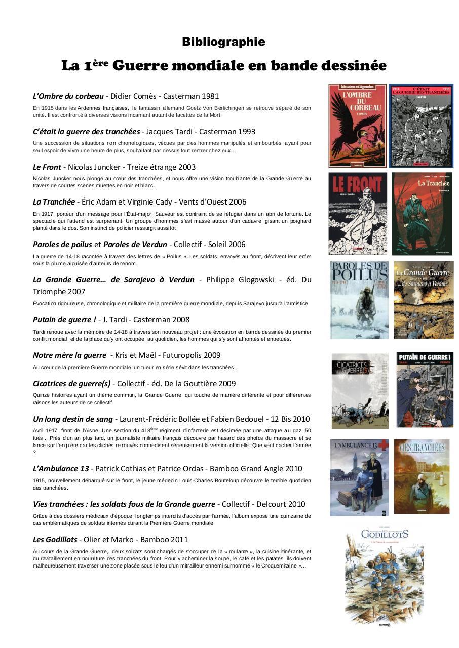 Aperçu Bibliographie BD 1ère guerre.pdf - Page 1/2