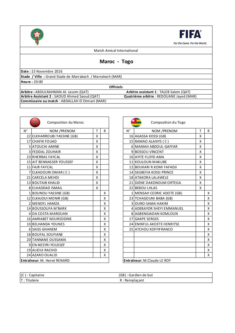 Aperçu du document Feuille de match Maroc vs Togo (match amical).pdf - page 1/1