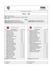 feuille de match maroc vs togo match amical