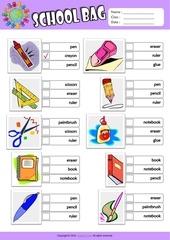 Fichier PDF in my schoolbag worksheet