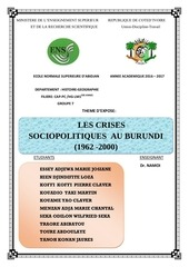 les crises du burundi de 1962 a 2000