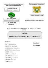 les crises du liberia au xxe siecle