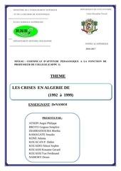les crises en algerie de 1992 a 1999
