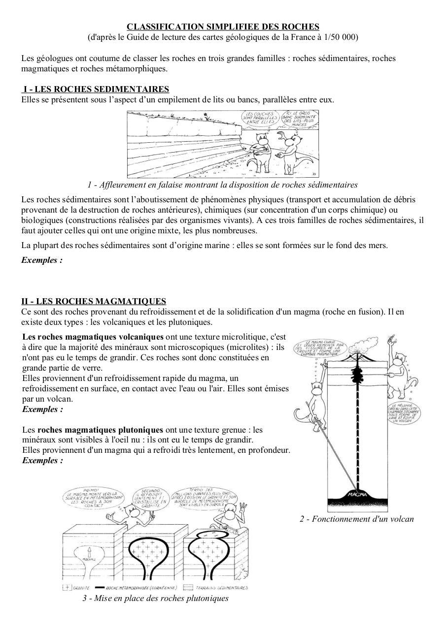 Classif Roches Carte Geol De France Fichier Pdf