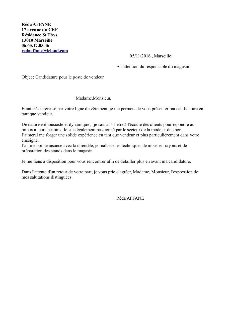 Lettre De Motivation Vendeur Pap Par Florence Pernayan Fichier Pdf