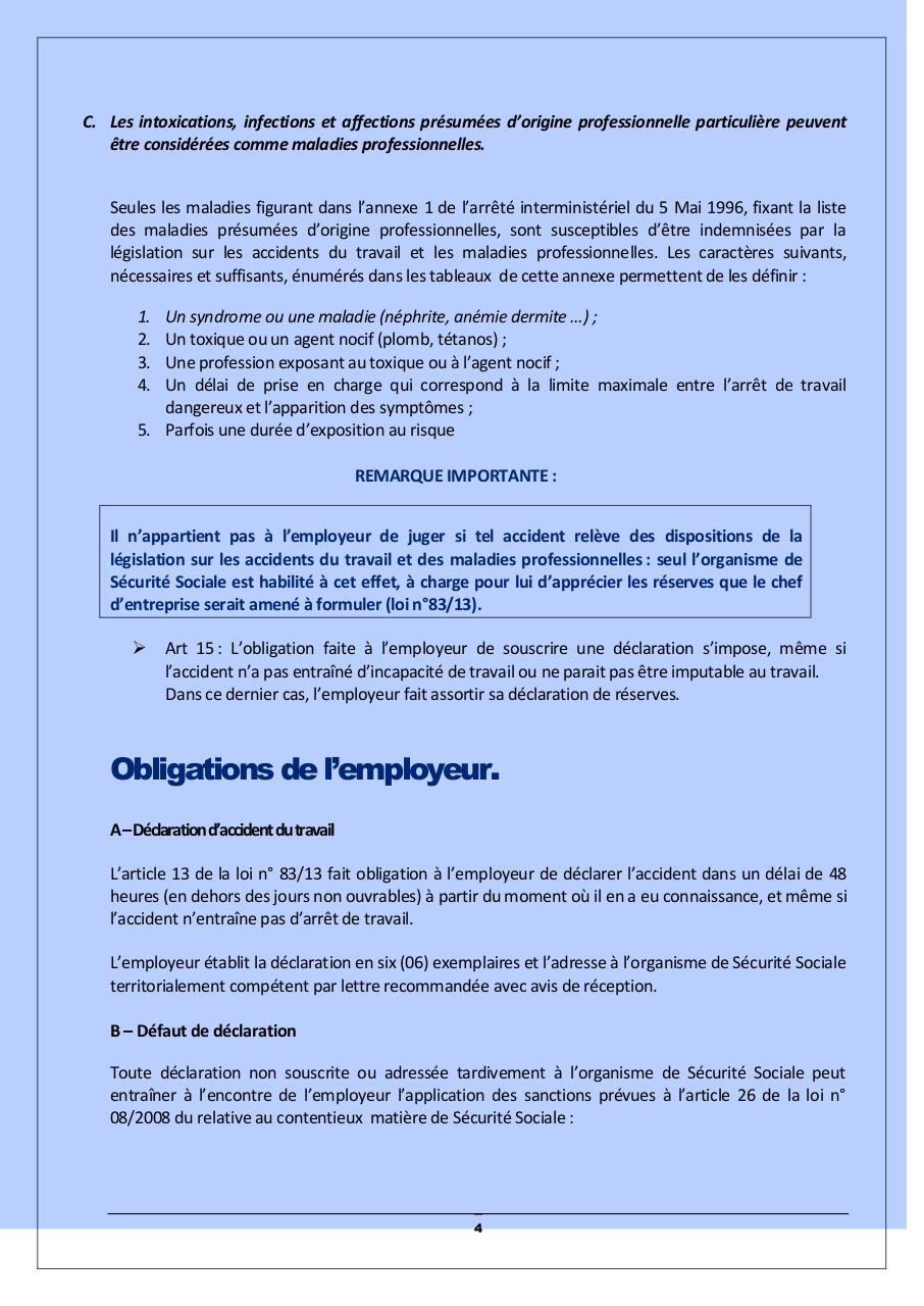 La Declaration D Accident Du Travail Notice A L Usage Des