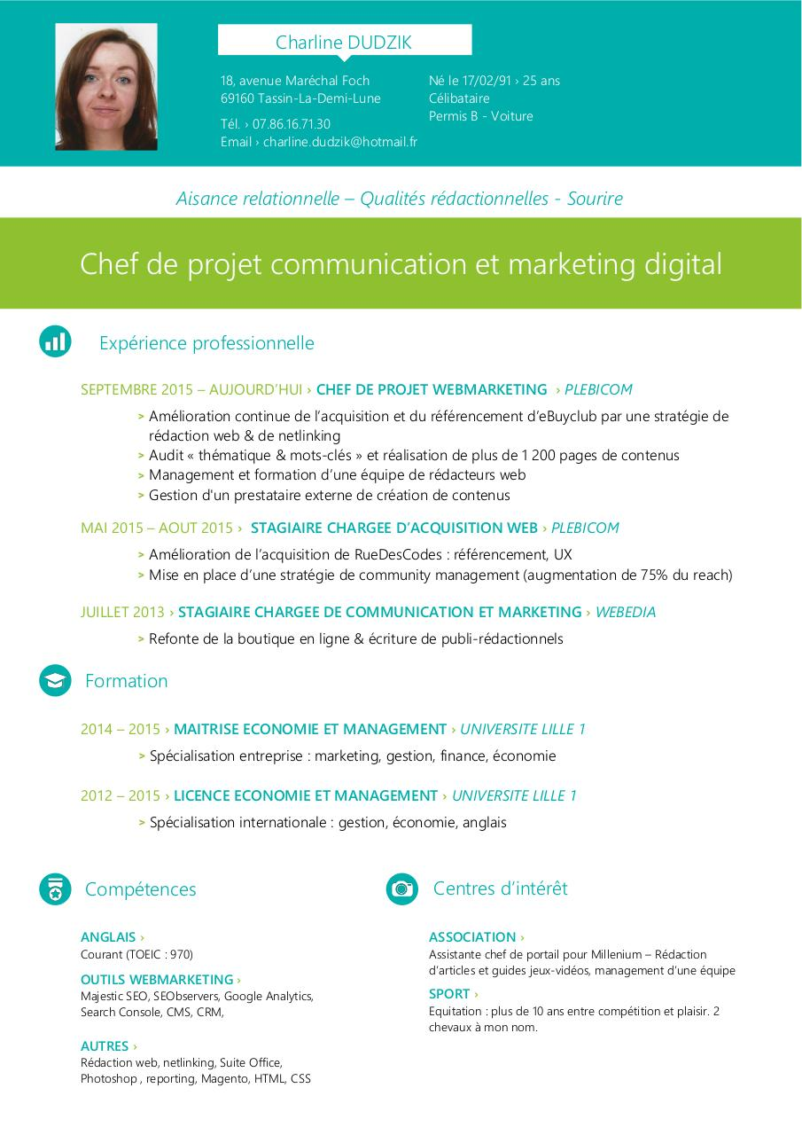 cv chef de projet digital charline dudzik  cv chef de