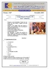 examen et corrige 2 francais 2014 5ap t1