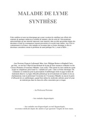 maladie de lyme synthese preface et references