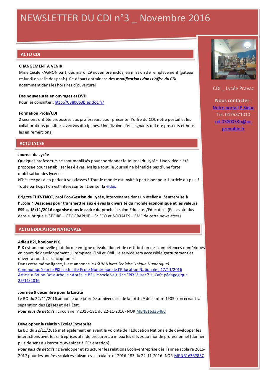 2016-12_Newsletter CDI n°3.pdf - page 1/5