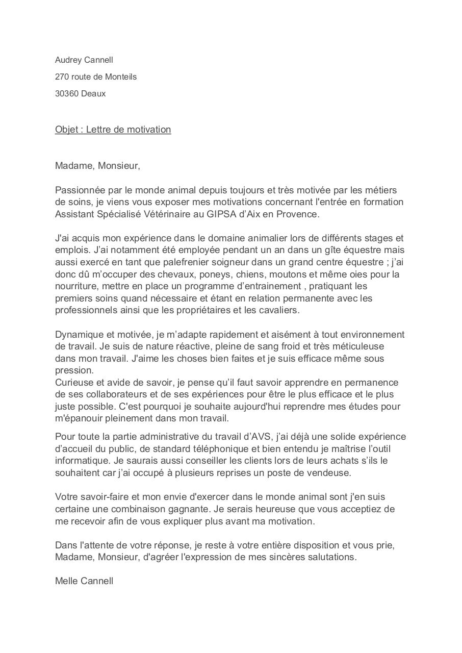 lettre de motivation asv par audre - lettre motivation asv pdf