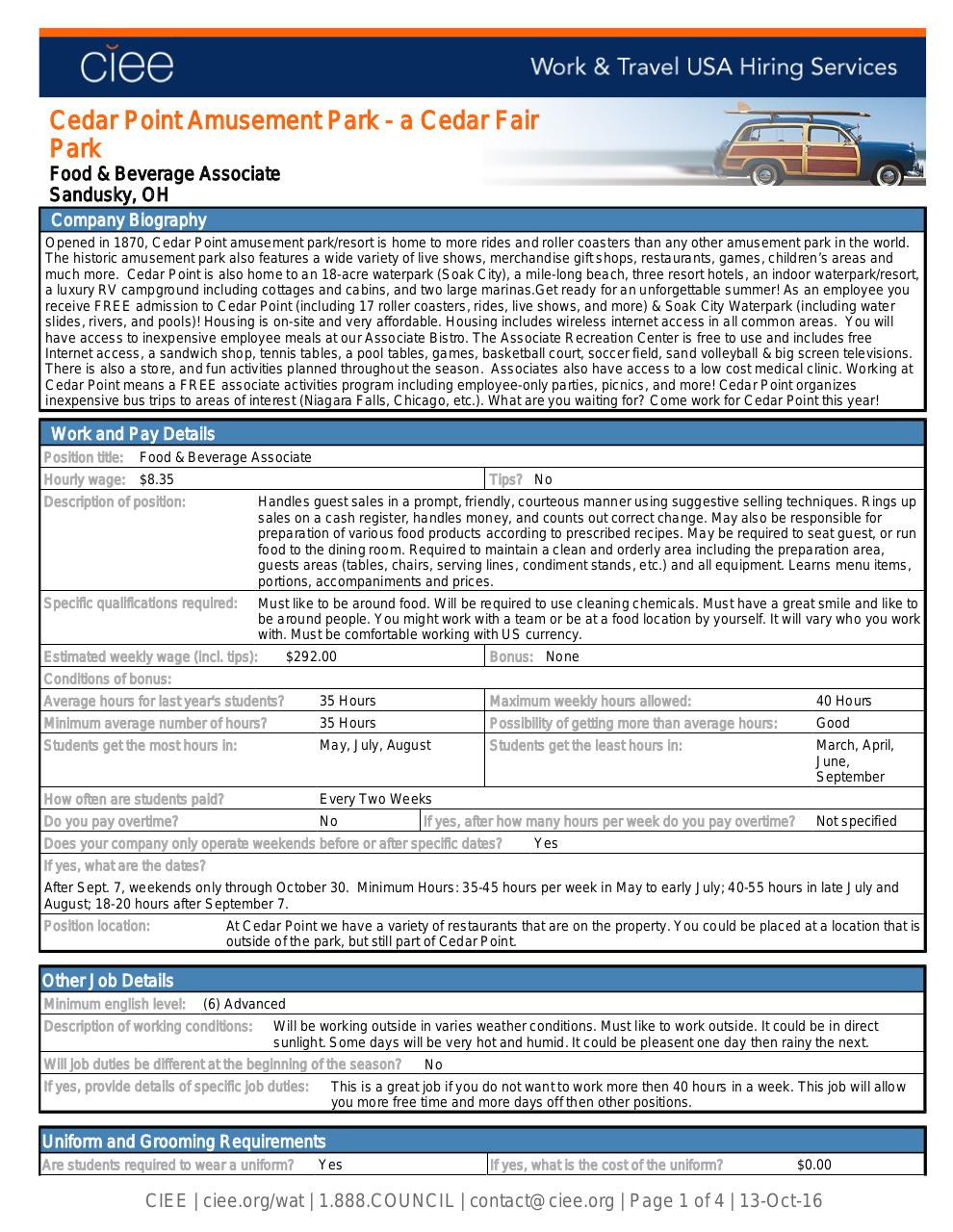 Cedar Point- Food and Beverage Associate.pdf - page 1/4