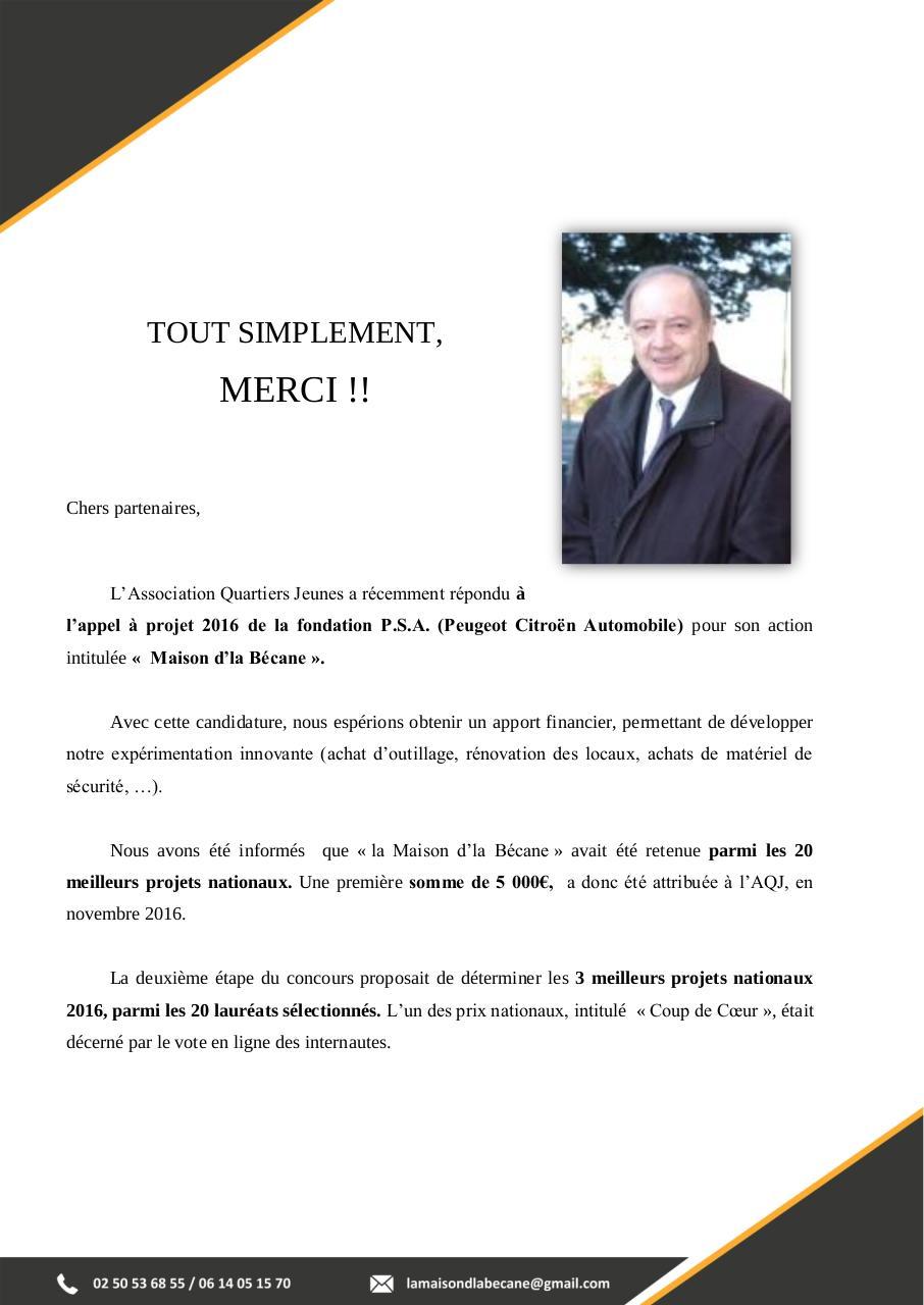 Lettre Remerciements President Maison Dla Becanne Par