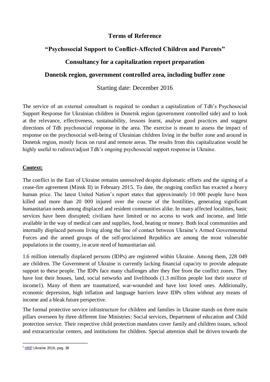 12.12 ToR PSS Capital report UNICEF.pdf - page 1/5