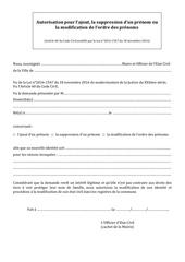 autorisation ajout suppression modification prenom