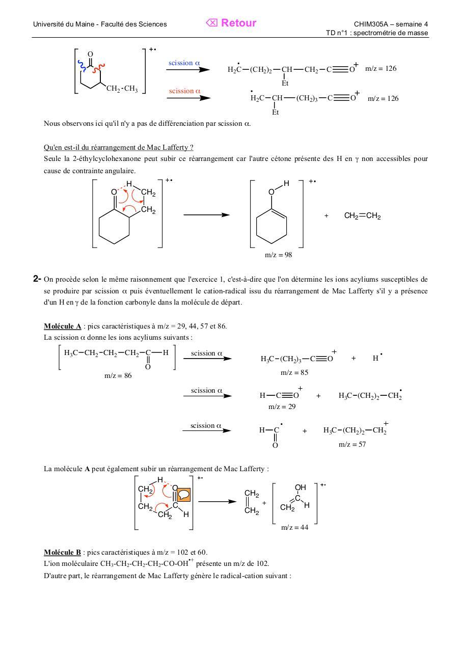 Correction Td Spectro De Masse Par Veronique Montembault Fichier Pdf