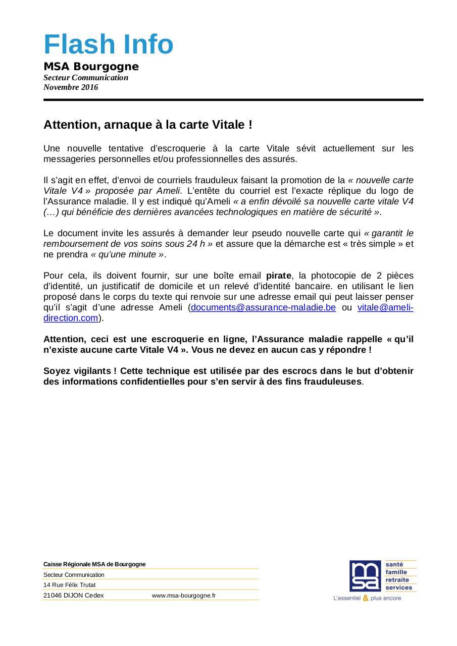 Flash Info Arnaque Carte Vitale Doc Par M71rdea Flash Info