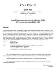 Fichier PDF horaire entrainement
