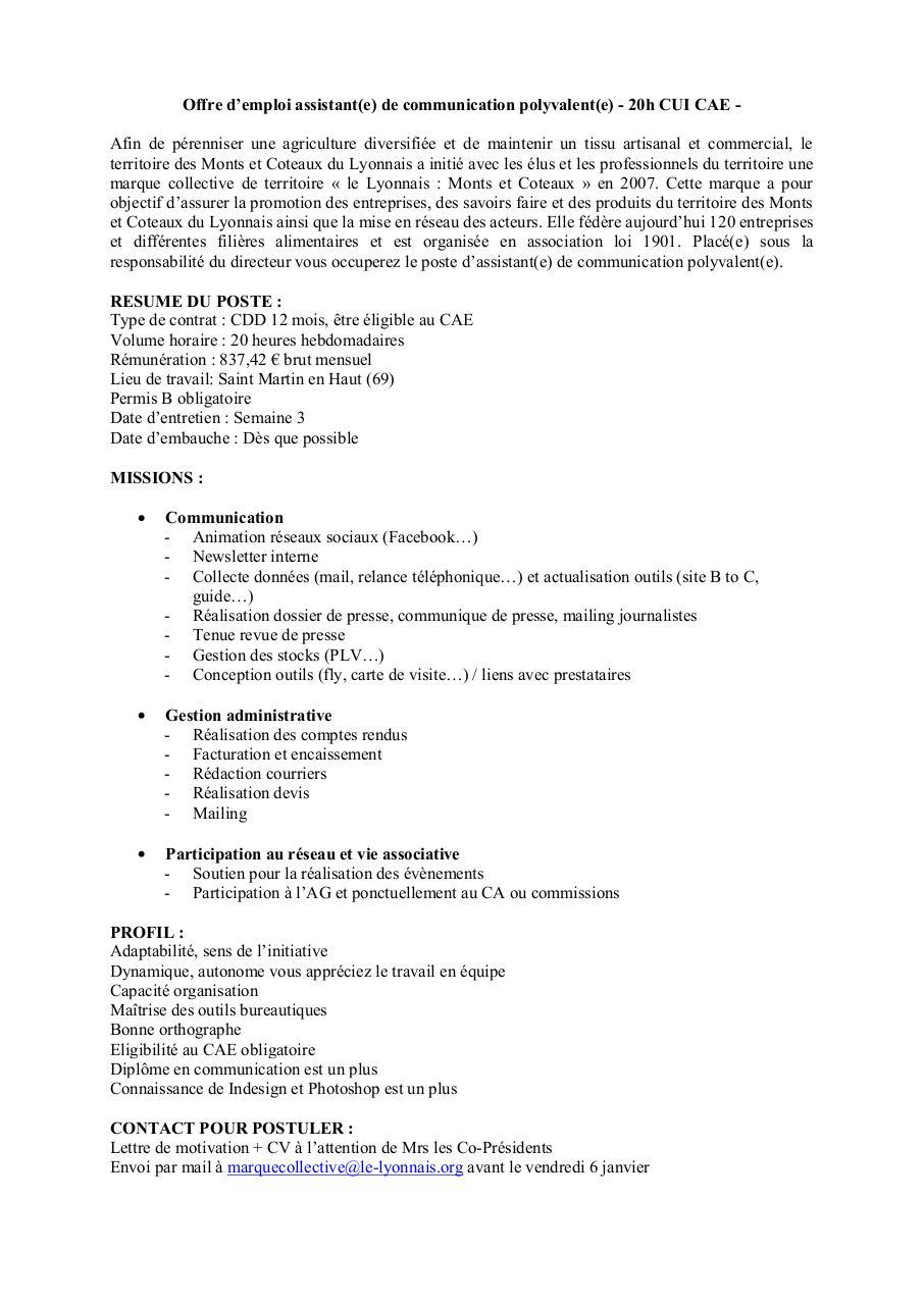 Aperu Du Document Offre Assistante Communication Polyvalentpdf