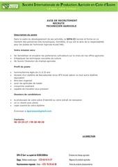 avis de recrutement sipa 1