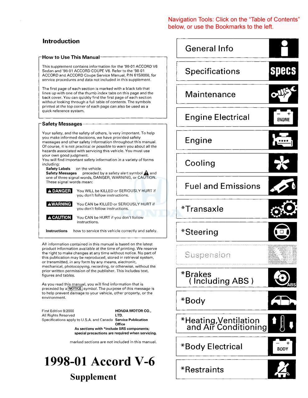 Honda Accord V6 1998 2001 Sm Supp Fichier Pdf On All Engines Except Vtec The Belt Adjuster Arm Must Be Locked In Supppdf Page 1 834