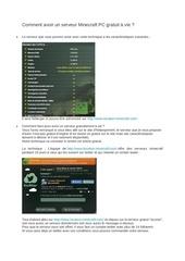 comment avoir un serveur minecraft pc gratuit a vie