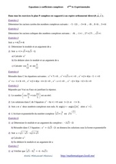 equations a coefficients complexes 4eme sc experimentales