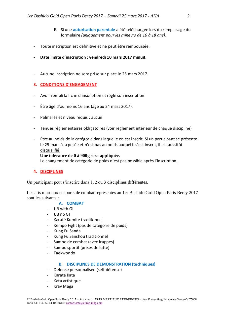 Règlement Officiel 1er Bushido Gold Open.pdf - page 2/12