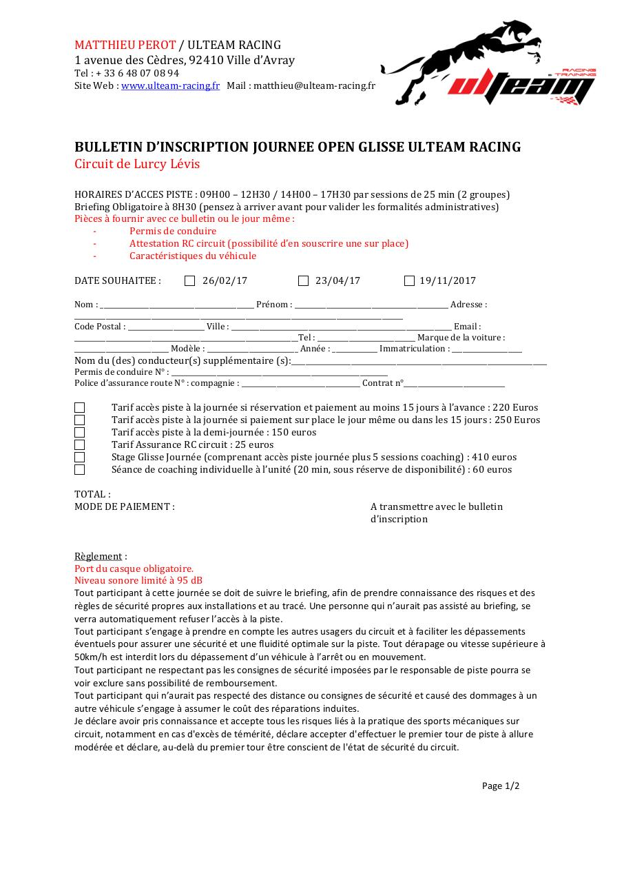 BULLETIN D'INSCRIPTION JOURNEE GLISSE LURCY 2017.pdf - page 1/2