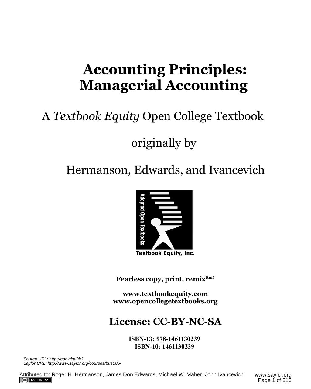 Accounting Principles: A Business Perspective, Managerial
