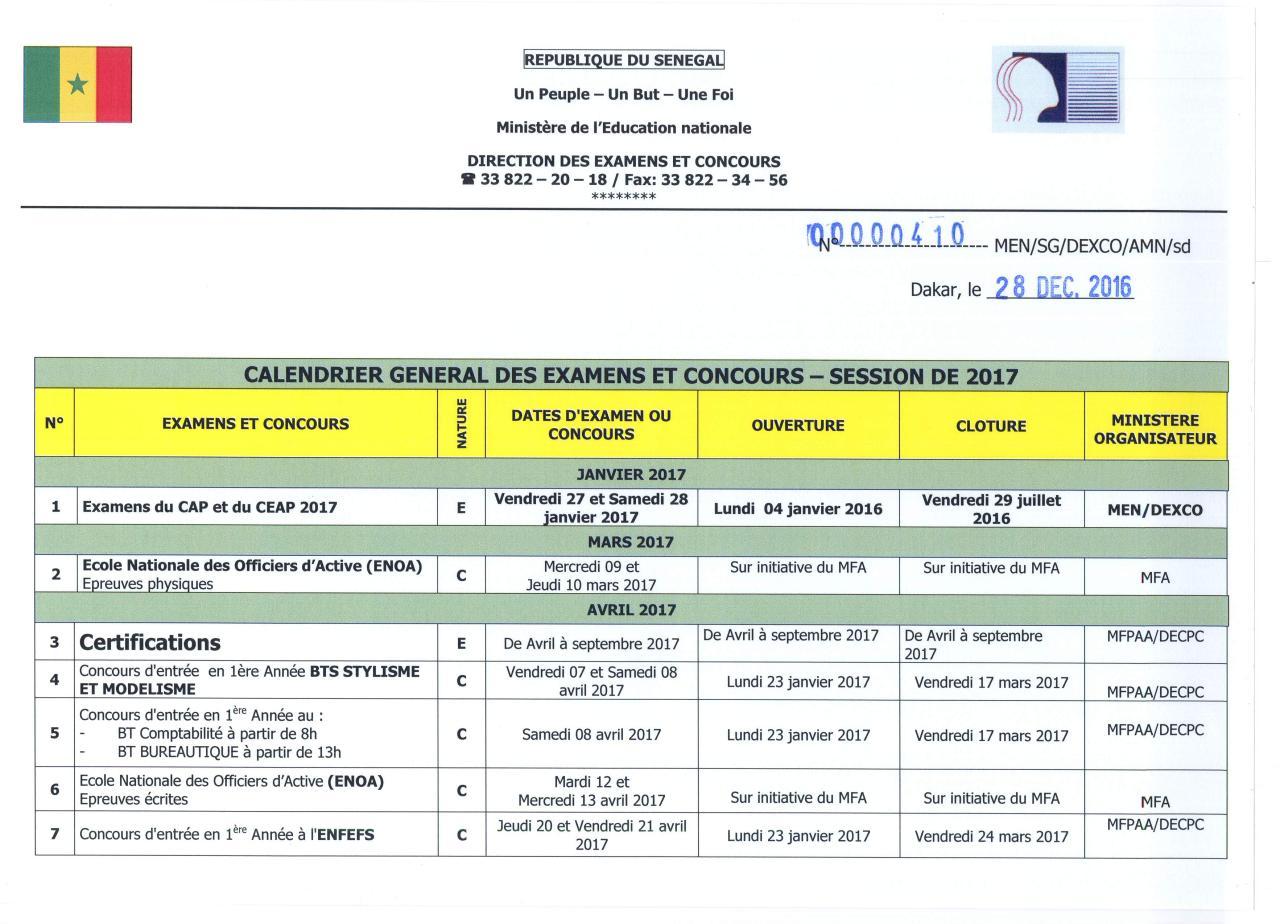 cabfb17694f Calendrier Général des Examens   Concours 2017.pdf - page ...